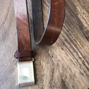 Men's J.CREW Classic Leather Belt - Brown